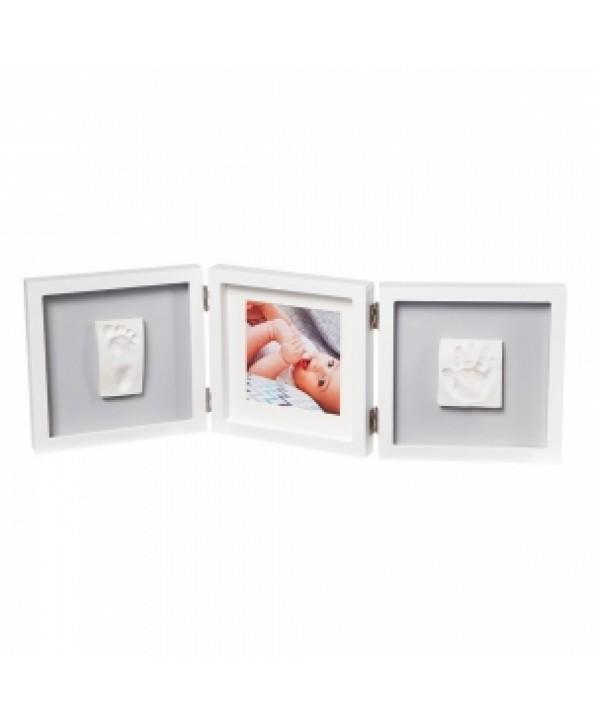 Baby Art Отпечатък за ръчичка и краче + снимка (бяла рамка, сиво паспарту) My Baby Style