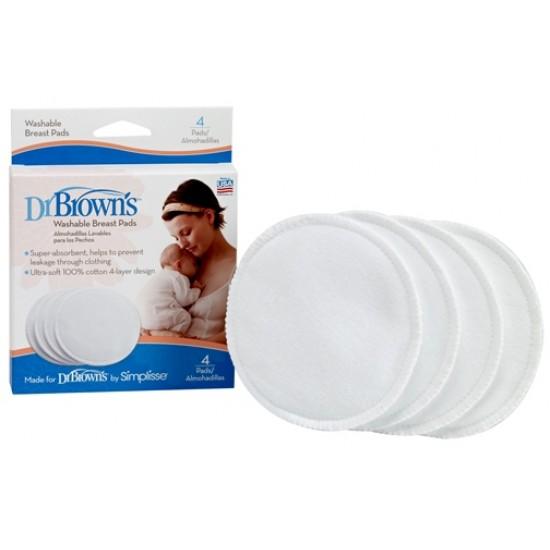 Dr. Brown's  Перящи се подплънки за гърди, 4 броя