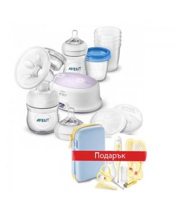 AVENT Eлектрическа помпа Comfort + Шишета Natural + контейнери VIA с подарък - AVENT Комплект Грижа за бебето