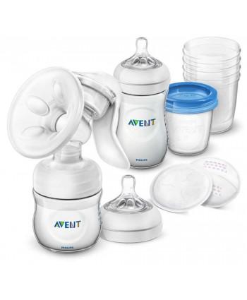 AVENT Механична помпа Comfort + Шишета Natural + контейнери VIA