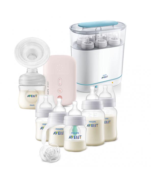 AVENT Eлектрическа помпа Natural Motion + Електрически стерилизатор 3-в-1 +  Комплект за новородено Anti-Colic Airfree с тренировъчно шише