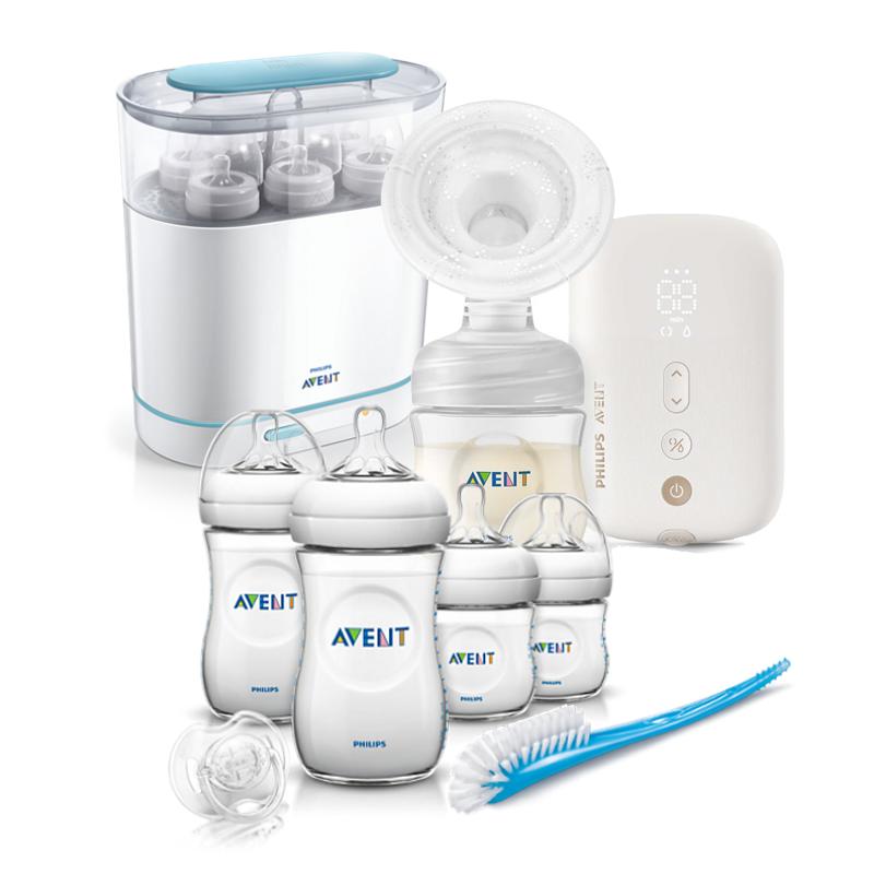 AVENT Единична електрическа помпа Natural Motion Premium + AVENT Електрически стерилизатор Advanced + Комплект за новородено Natural PP