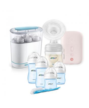 AVENT Електрическа помпа Natural Motion + Електрически стерилизатор 3-в-1 + Сини шишета за новородено Natural