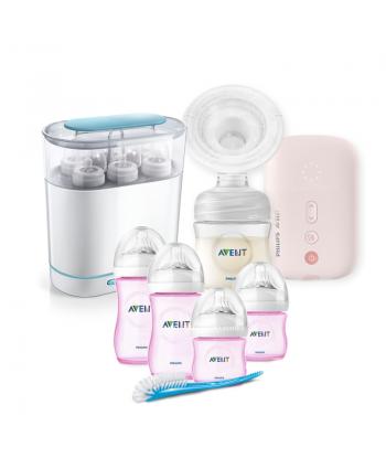 AVENT Електрическа помпа Natural Motion+ Електрически стерилизатор 3-в-1 + Розови шишета за новородено Natural
