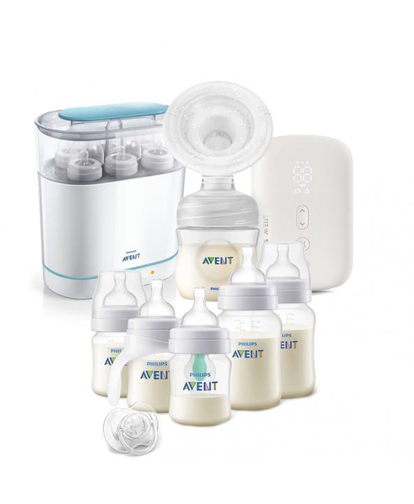 AVENT Единична електрическа помпа Natural Motion Premium + Електрически стерилизатор 3-в-1 + Комплект за новородено Anti-Colic Airfree с тренировъчно шише