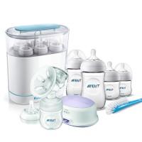 AVENT Електрическа помпа + Електрически стерилизатор 3-в-1 + Комплект за новородено Natural PP