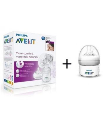 AVENT Ръчна помпа за изцеждане на кърма Comfort + шише 60 мл.