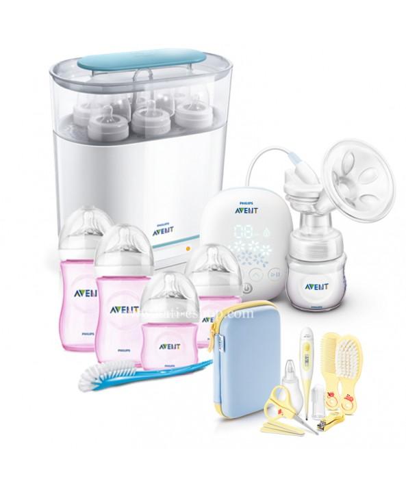 AVENT Електронна помпа + Електрически стерилизатор 3-в-1 + Розови шишета за новородено Natural + Комплект Грижа за бебето