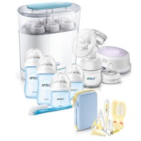 AVENT Електрическа помпа + Електрически стерилизатор 3-в-1 + Сини шишета за новородено Natural + Комплект Грижа за бебето