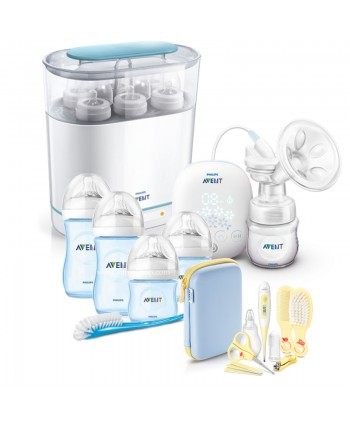 AVENT Електронна помпа + Електрически стерилизатор 3-в-1 + Сини шишета за новородено Natural + Комплект Грижа за бебето