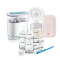 AVENT Eлектрическа помпа Natural Motion + Електрически стерилизатор 3-в-1 + Комплект за новородено Natural PP