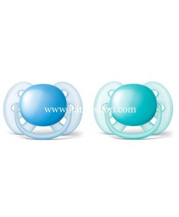 AVENT Залъгалки ULTRA SOFT + стерилизаторна кутия 6-18 месеца - 2бр./оп.
