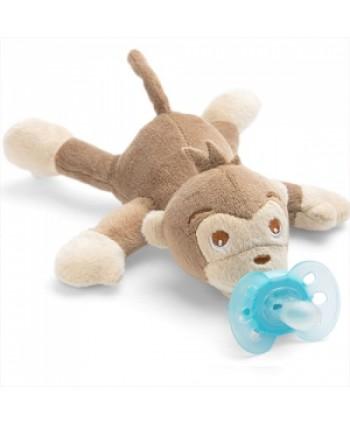 AVENT Залъгалка Ultra Soft (0-6м.) + Плюшена играчка за гушкане Маймунка