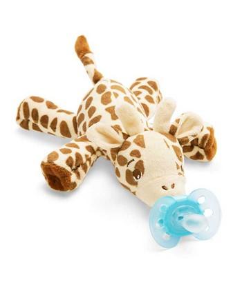 AVENT Залъгалка Ultra Soft (0-6м.) + Плюшена играчка за гушкане Жираф