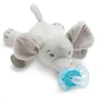 AVENT Залъгалка Ultra Soft (0-6м.) + Плюшена играчка за гушкане Слонче