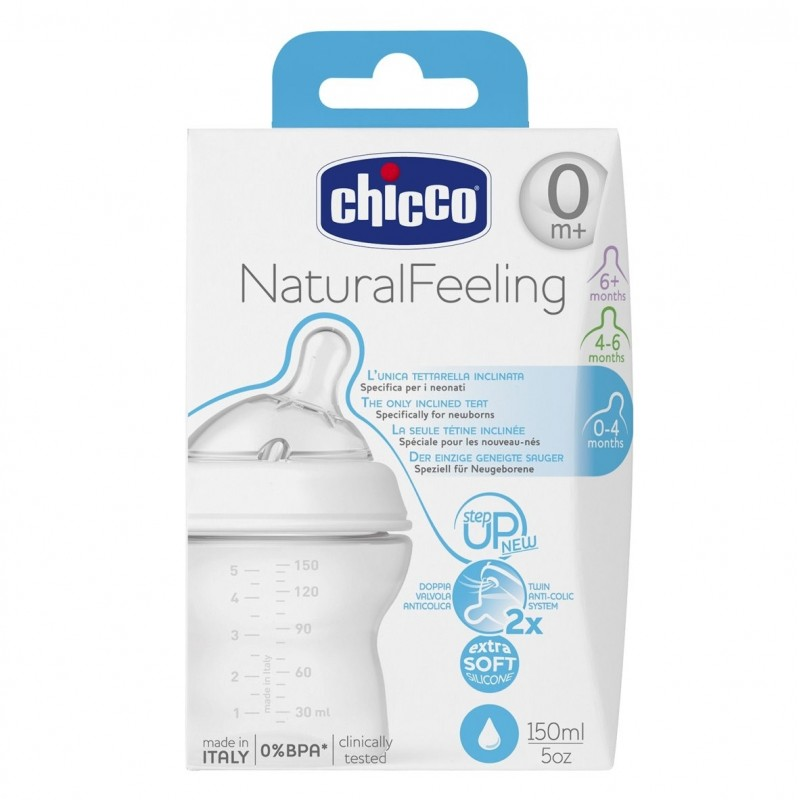 Chicco Шише Natural Feeling 150мл 0м.+