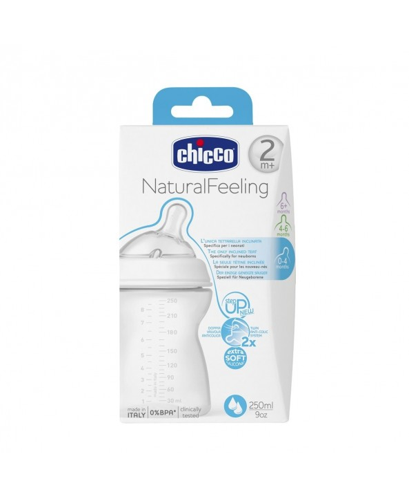 Chicco Шише Natural Feeling 250мл 2м.+