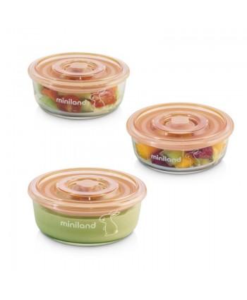 Miniland Комплект контейнери от стъкло  3х300 мл - Natur