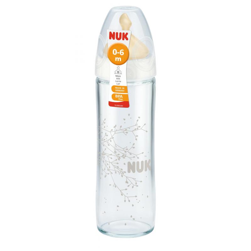 NUK New Classic стъклено шише 240мл каучук