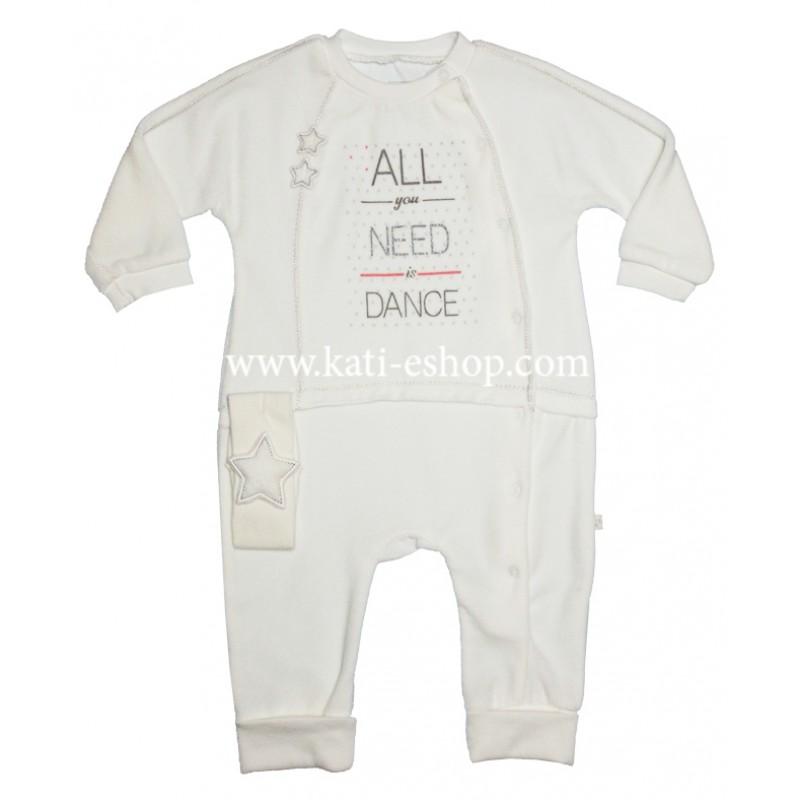 CARAMELL Baby Плюшен гащеризон за момиче 3-1107