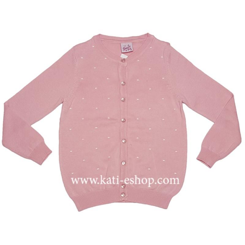 BREEZE Фино плетена жилетка за момиче розова 6-789