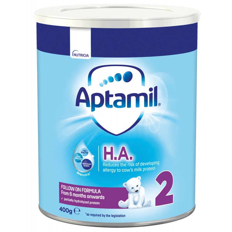 APTAMIL HА 2  хипоалергенно мляко за  намаляване риска от развитие на алергия 6-12м. 400г