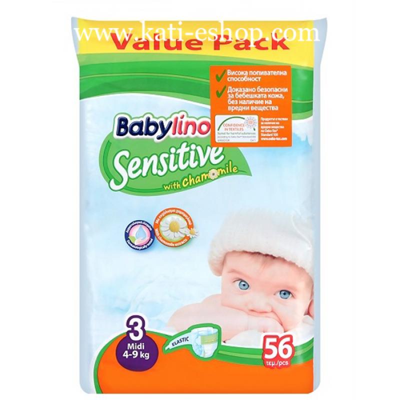 Babylino Sensitive Еднократни пелени Midi 3 4-9кг 56бр.