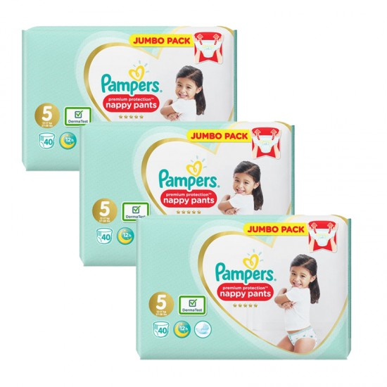 Pampers Premium Protection Гащички за еднократна употреба 5 12-17кг 120бр.