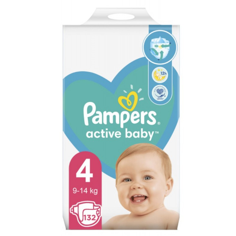 Памперс / Pampers Еднократни пелени Active Baby 4 Maxi 9-14 кг 132бр.