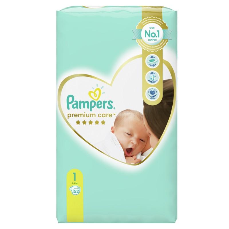 Pampers Premium Care 1 Newborn 2-5 кг  - 52бр.