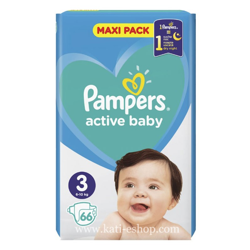 Pampers Active Baby 3 Midi 6-10 кг 66бр.