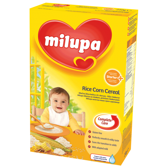 MILUPA Млечна каша oриз и царевица 4м 250г
