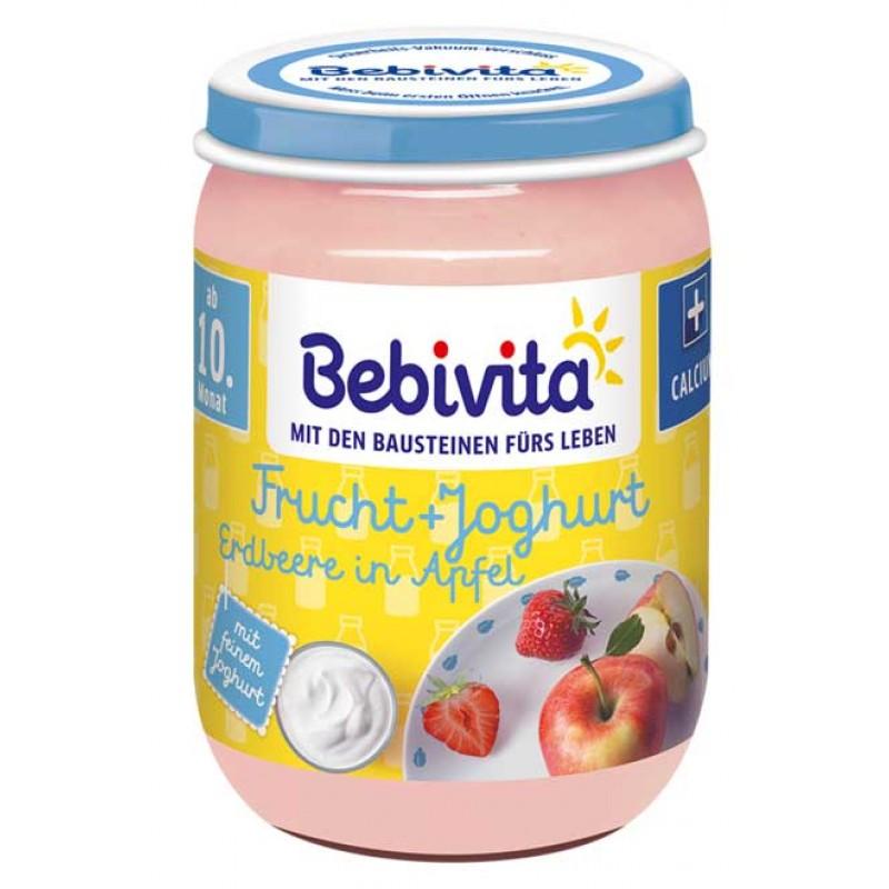 BEBIVITA Дует йогурт с плодове - ябълка с ягода 10м. 190г