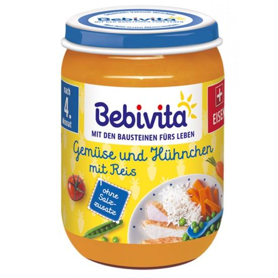 BEBIVITA Ориз и зеленчуци с пилешко месо  4м. 190г
