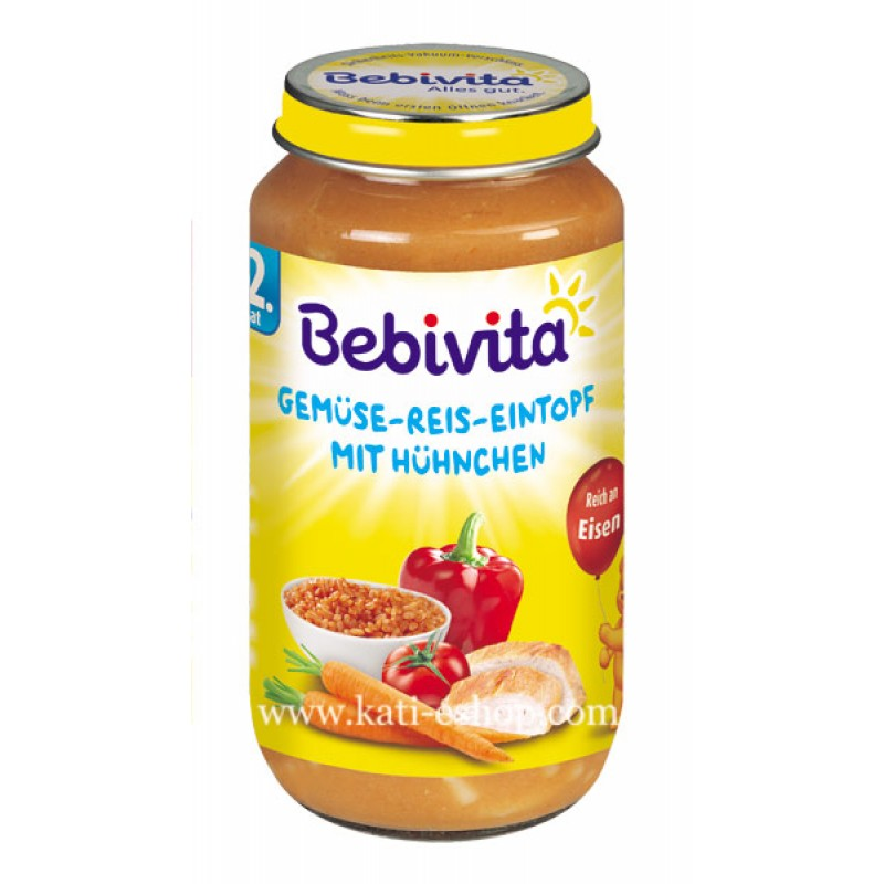 BEBIVITA Зеленчукова яхния с ориз и пилешко месо 12м. 250г