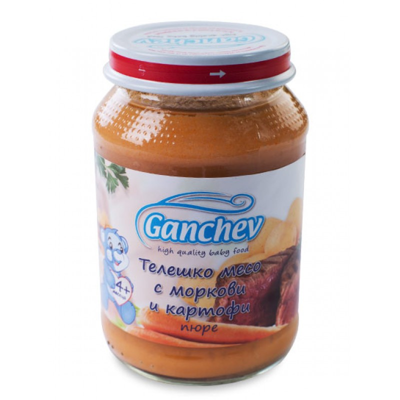 GANCHEV Пюре от телешко месо с моркови и картофи 4м. 190г