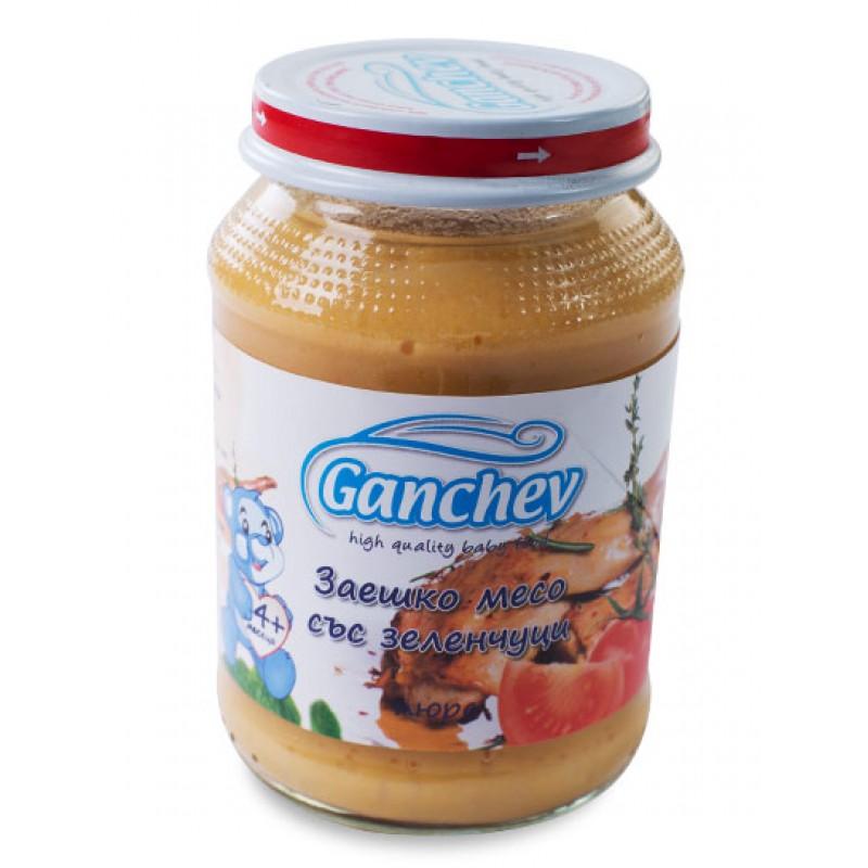 GANCHEV Пюре от заешко месо със зеленчуци 4м. 190г