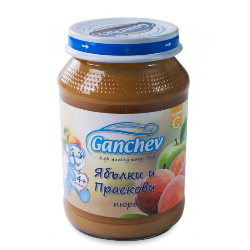 GANCHEV Пюре от ябълки и праскови 4м. 190г