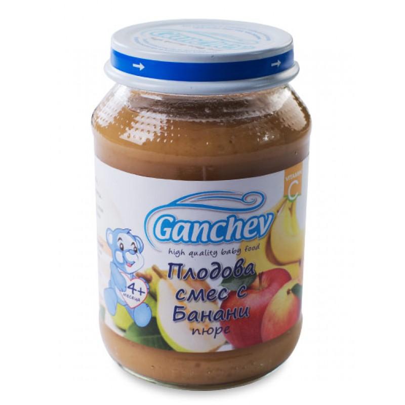 GANCHEV Пюре от плодова смес с банани 4м. 190г