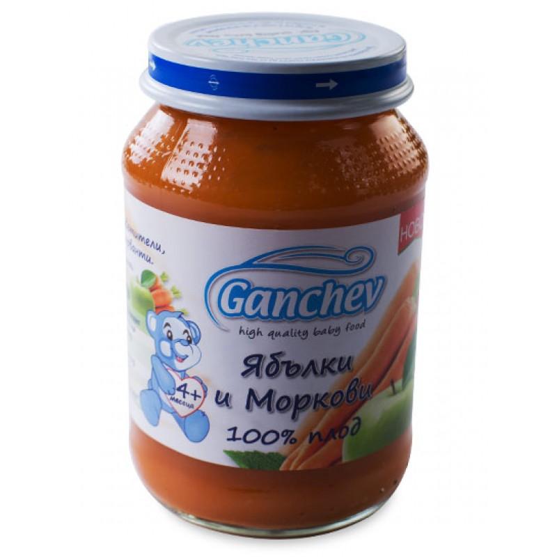 GANCHEV 100% плод - Пюре от ябълки и моркови 4м. 190г