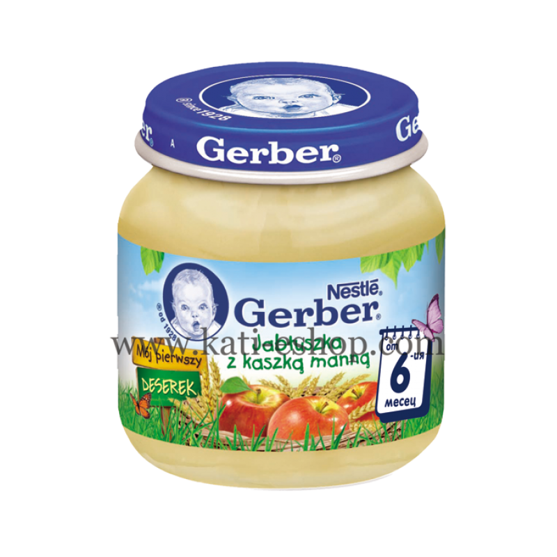GERBER Пюре от ябълка и грис 6м. 125г