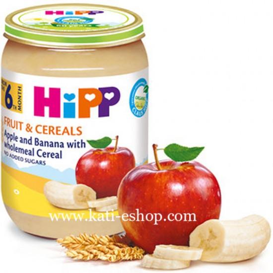 HiPP БИО Ябълки и банани с пълнозърнести култури 6м. 190г