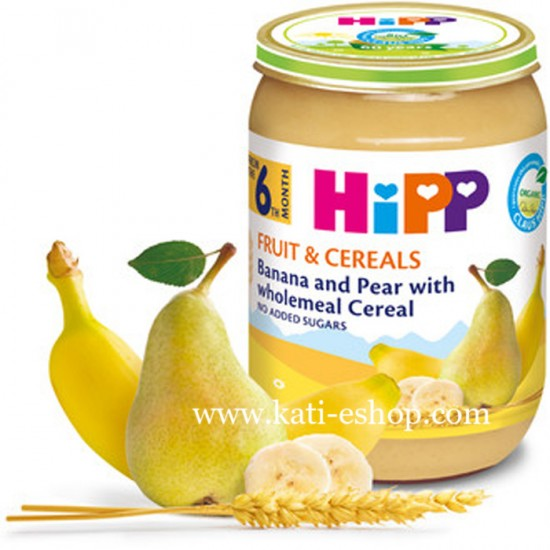 HiPP БИО Круша и банан с пълнозърнести култури 6м. 190г