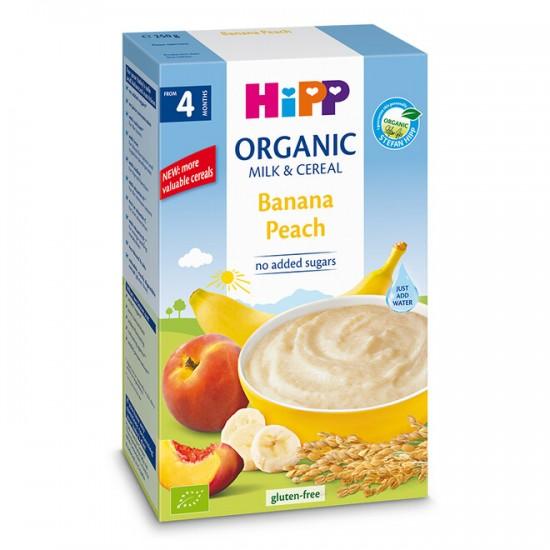 HiPP БИО Инстантна млечна каша банан и праскова 4м. 250г