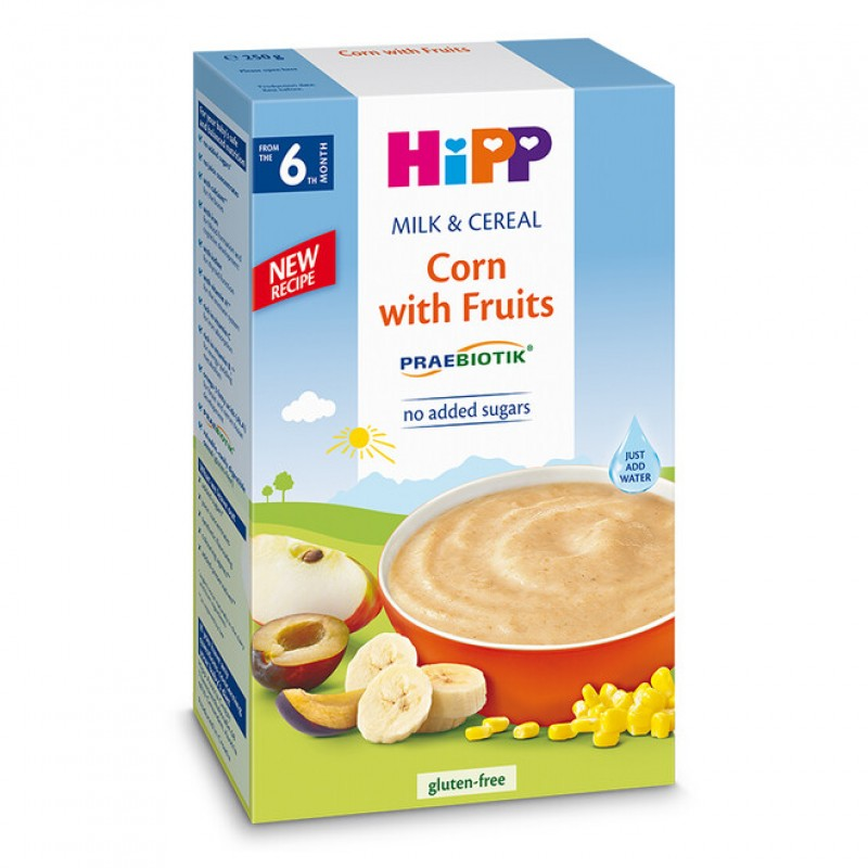 HiPP Инстантна каша царевица с плодове 6м. 250г