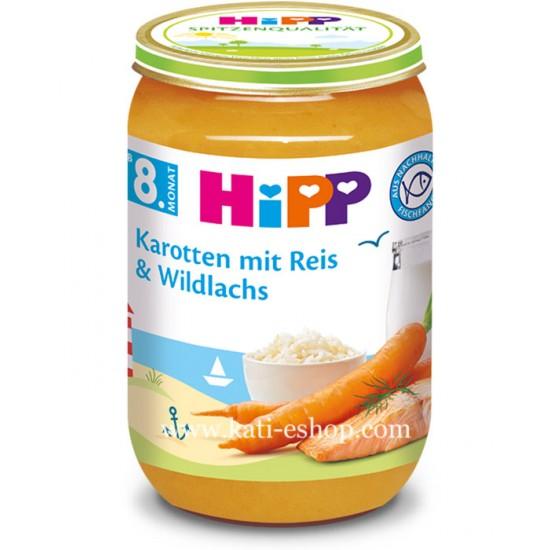 HiPP Моркови с ориз и дива сьомга 8м. 220г