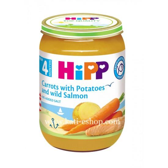 HiPP Ранни моркови с картофи и сьомга 4м. 190г