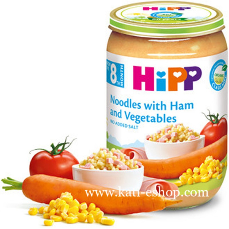 HiPP БИО Макарони с шунка и зеленчуци 8м. 220г