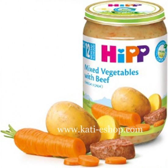 HiPP БИО Зеленчуци с телешко месо 12м. 220г