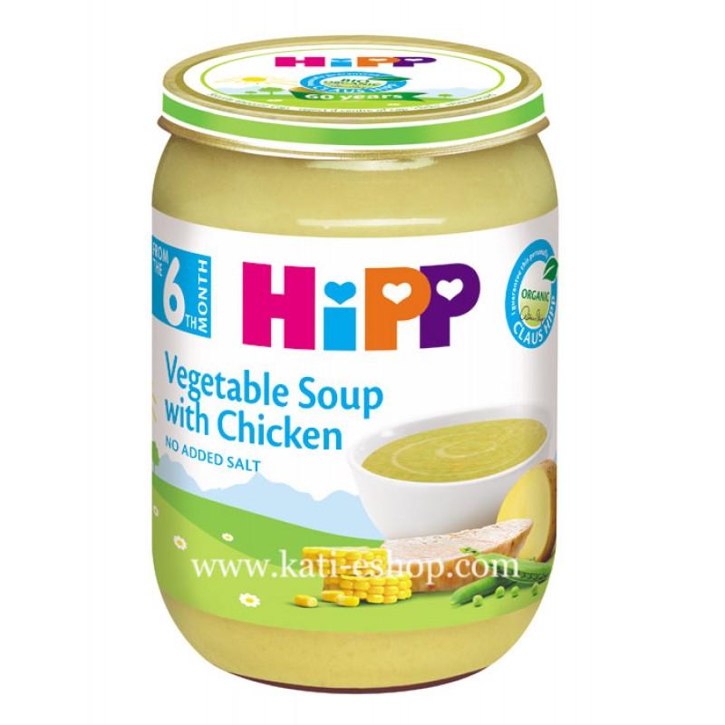 HiPP БИО Зеленчукова супа с пиле 6м. 190г